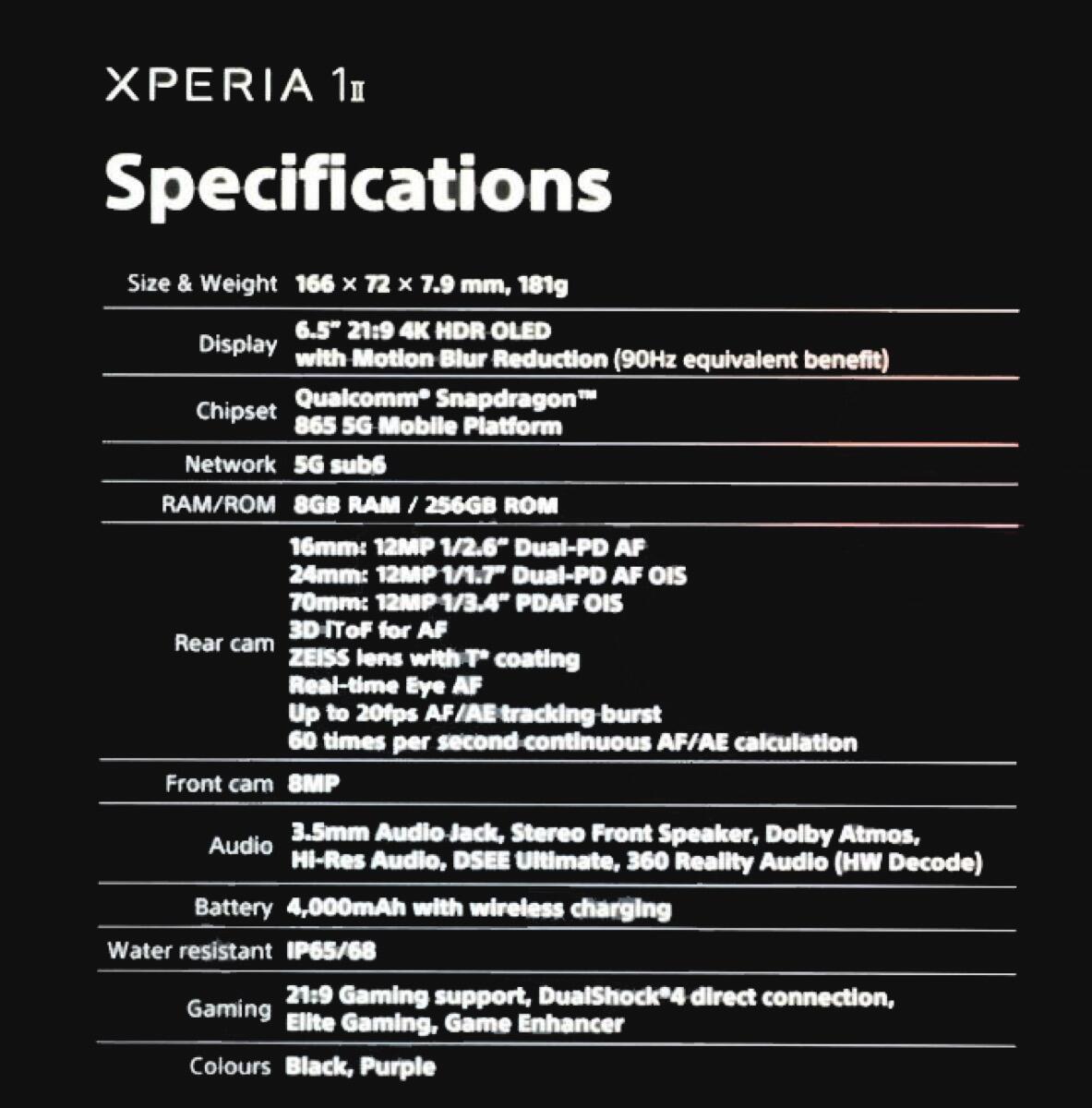 Sony Xperia 1 Ii Leak Specs