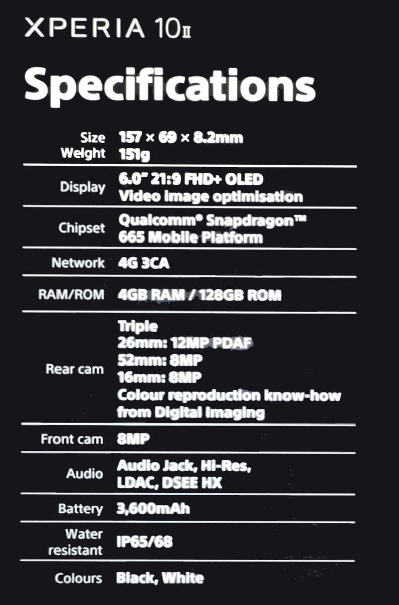 Sony Xperia 10 Ii Leak Specs