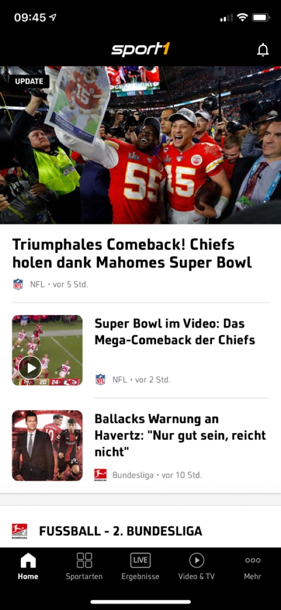 Sport1 App Screen 1