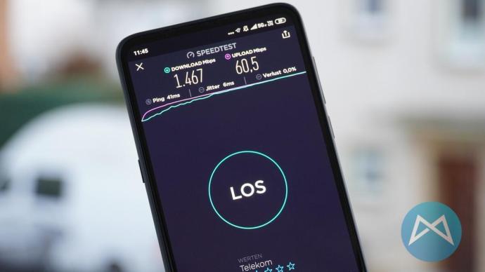 5G Speedtest mit einem Xiaomi Mi Mix 3 5G.