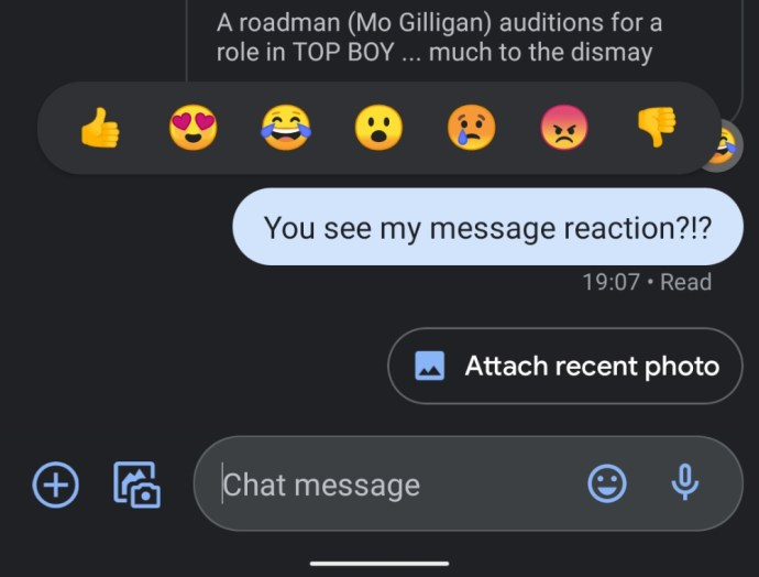 Android Messages Google Reaktionen