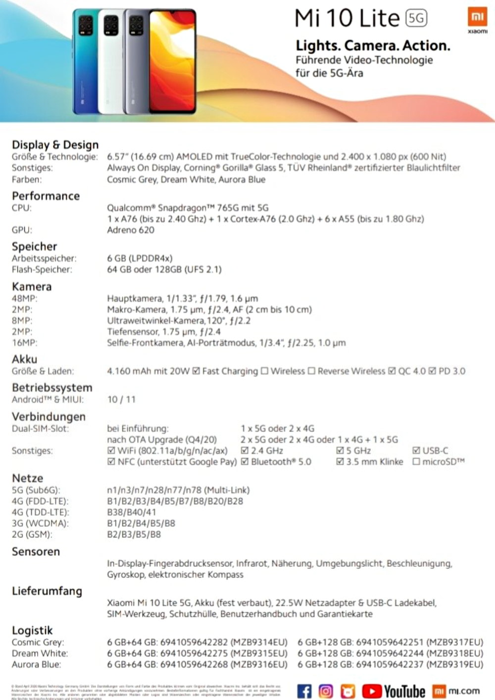 Xiaomi Mi 10 Lite Specs