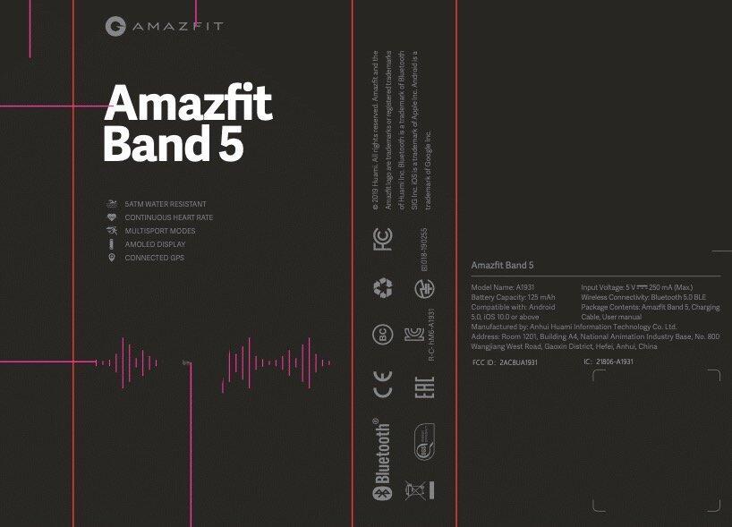 Amazfit Band 5 Fcc