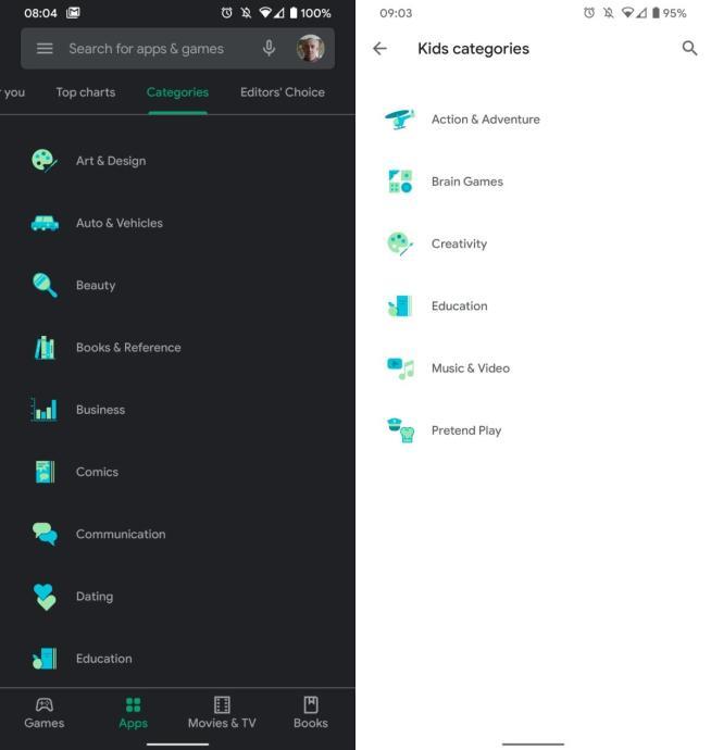 Google Play Store Kategorie Neu