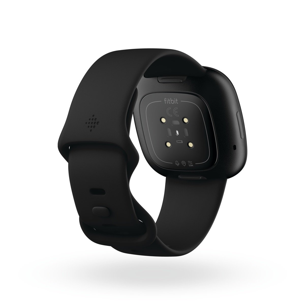 Product Render Of Fitbit Versa 3, Back View, In Black And Black Aluminum.