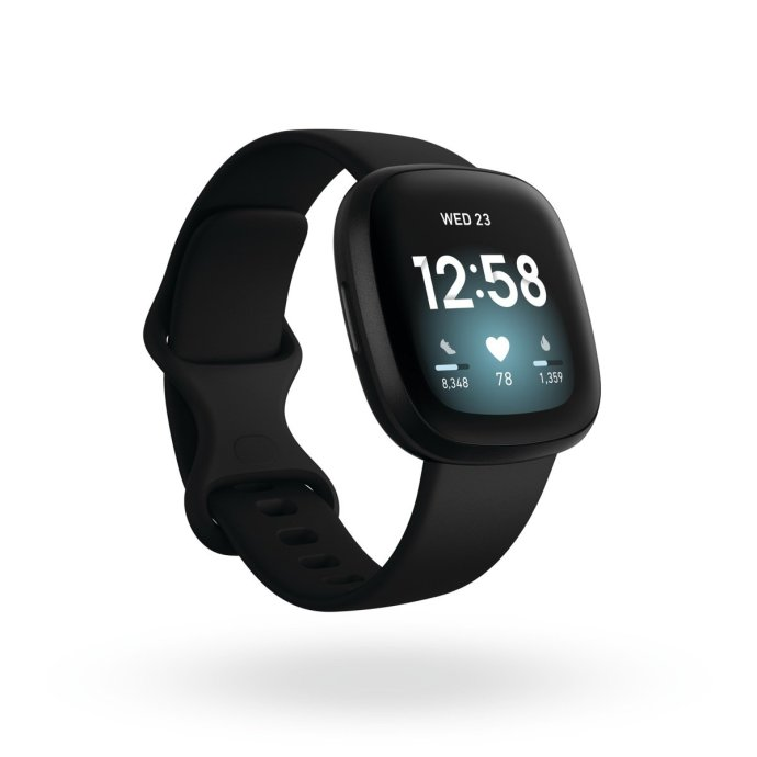 Product Render Of Fitbit Versa 3, 3qtr View, In Black And Black Aluminum.