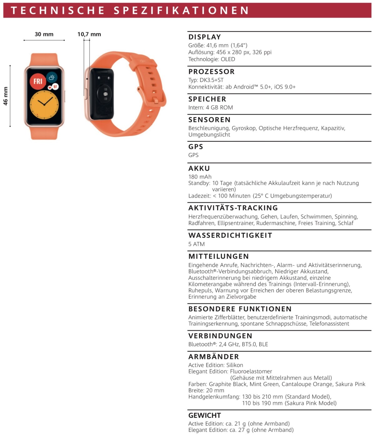 Huawei Watch Fit Specs