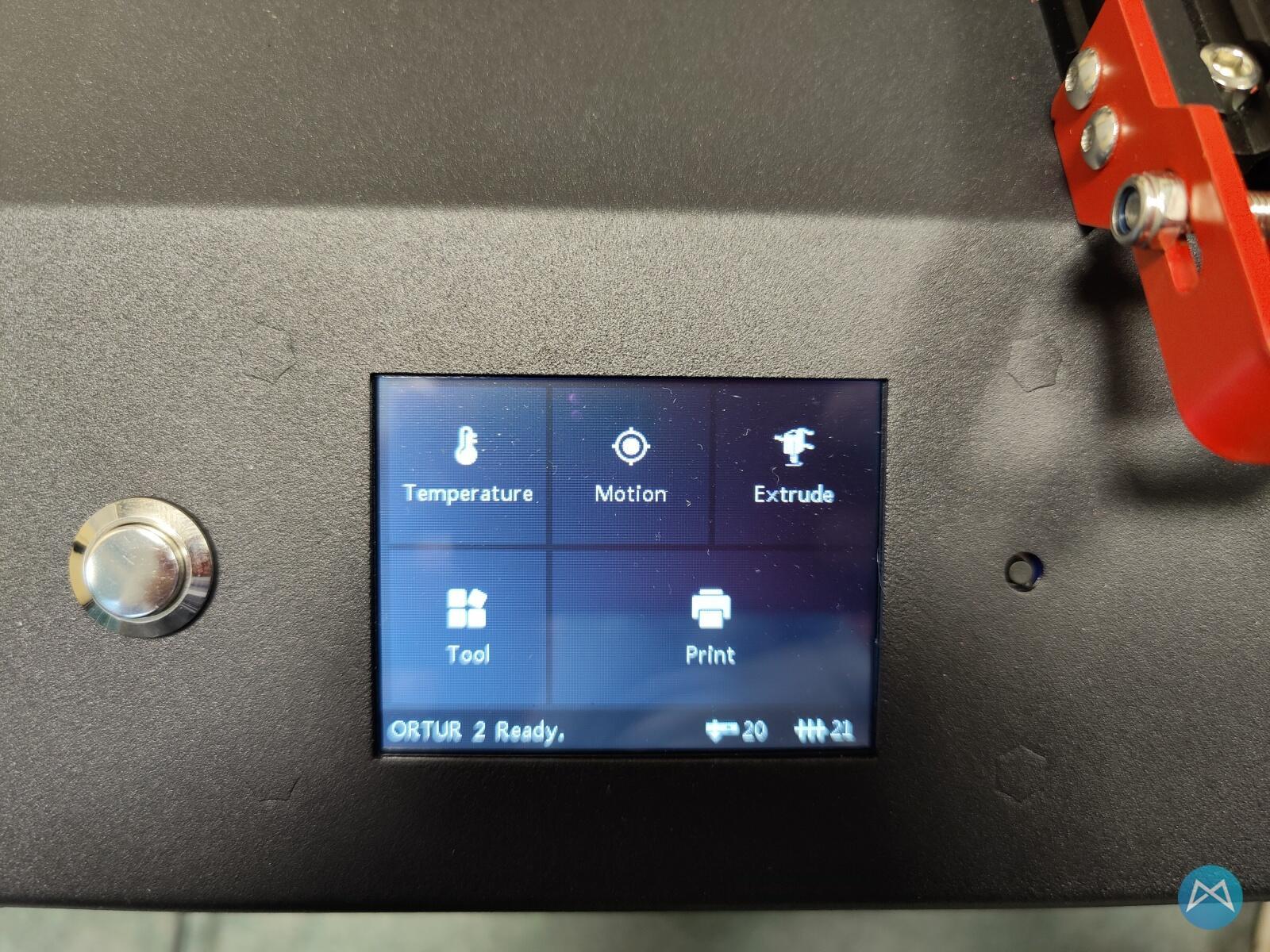 Ortur Obsidian 3d Drucker Printer Startbildschirm