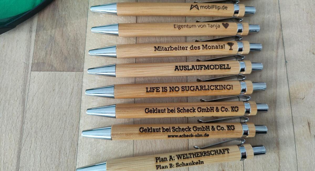 Bambus Kugelschreiber Ortur Lasermaster 15w