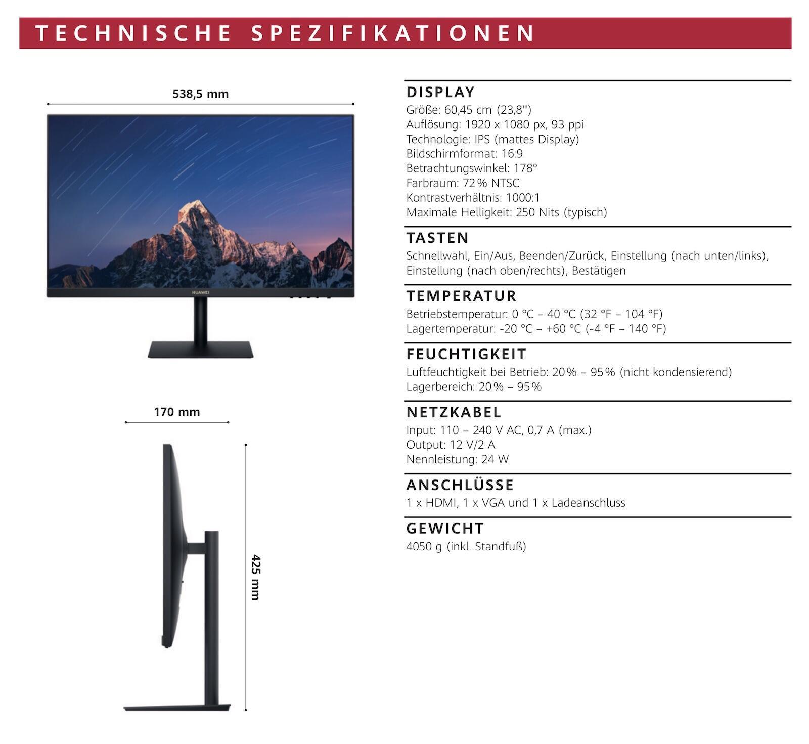 Huawei Display Specs