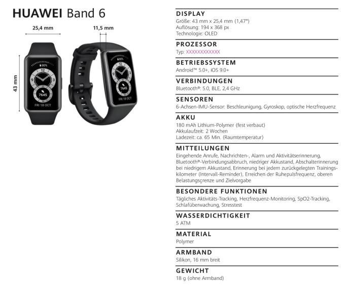 Huawei Band 6 Specs