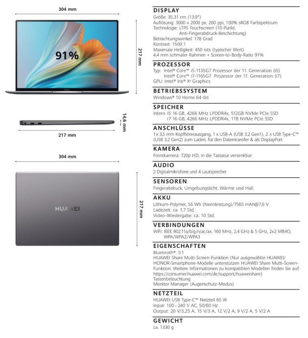 Huawei Matebook Pro X Specs