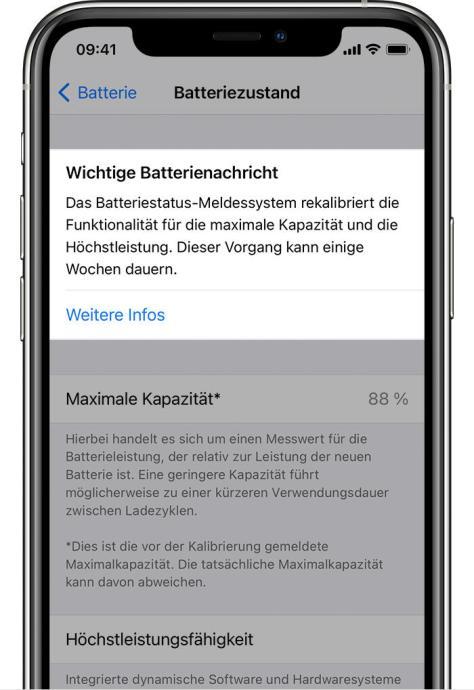 Ios14 Iphone11 Pro Settings Battery Battery Health Recalibrating Maximum Capacity And Peak Performance Capability Crop