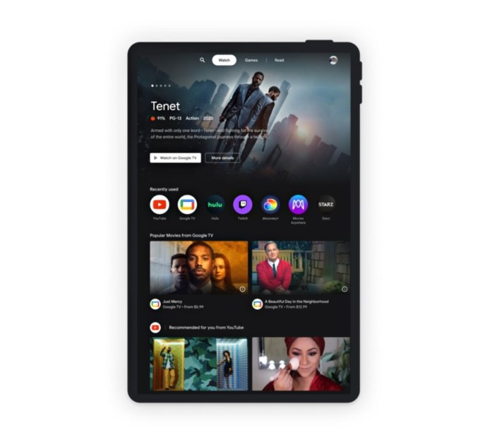 Android Tablet Entertainment Space Google