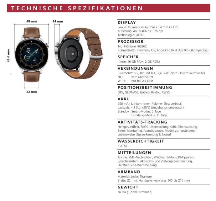 Huawei Watch 3 Pro Specs