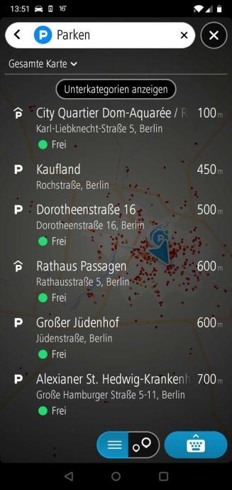 Tomtom Go Navigation Parkinformationen In Echtzeit In Der Listenansicht