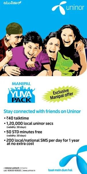 Uninor-Yuva-manipal-offer
