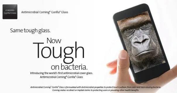 corning gorilla glass antibacterial
