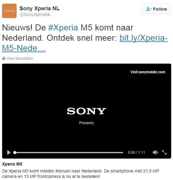 sony-xperia-m5-netherlands-announcement-tweet