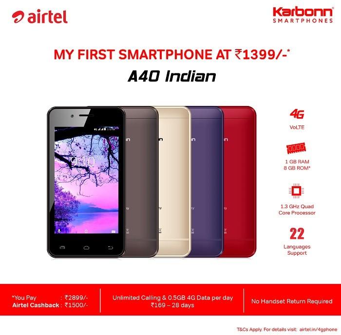 karbonn-a40-indian-airtel-4g-smartphone-offer