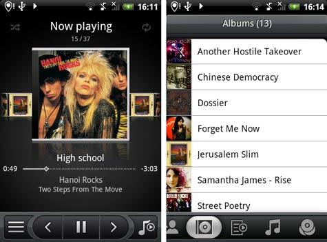 HTC Hero Sense musiikkisoitin