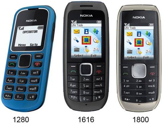 Nokia 1280 1616 ja 1800