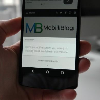 Uudistunut Google Now ei toimi vielä ensimmäisessä Android M -versiossa.