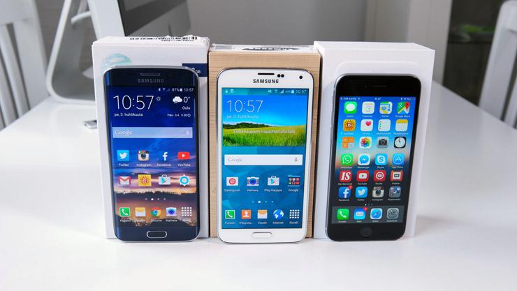 Galaxy S6 edge, Galaxy S5 ja iPhone 6
