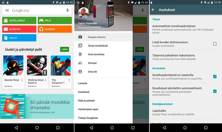 Android Google Play kuvakkeet