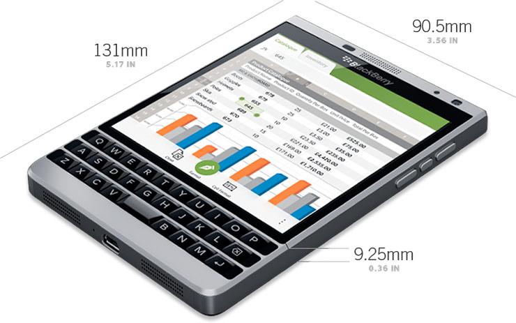 BlackBerry Passport Silve Edition size