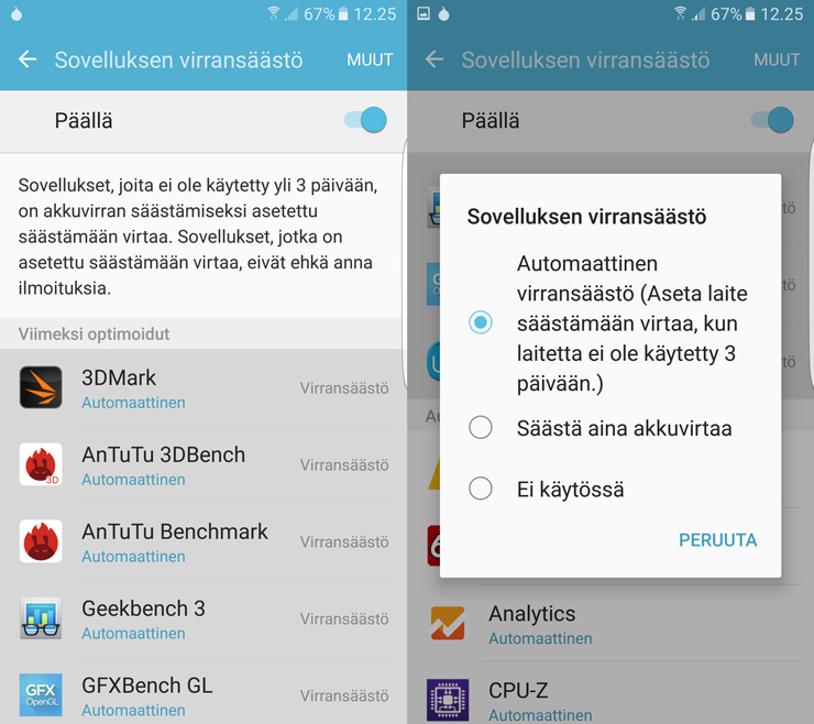 SAmsung Galaxy S7 sovellusten virransäästö