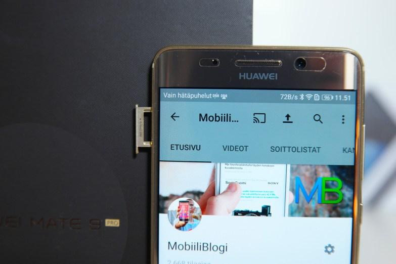 Huawei Mate 9 Pro, SIM-telakka.