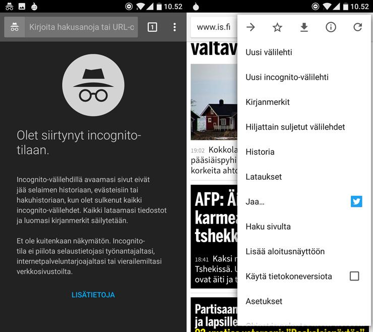 Android Chrome Incognito