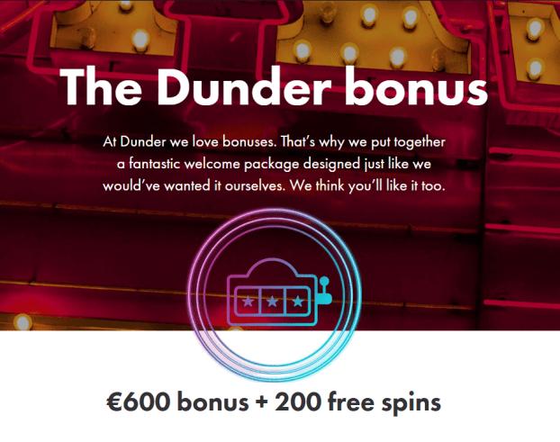 Dunder Casino- Bonus