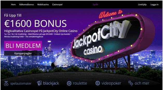 Jackpot City Casino erbjuder en fantastisk välkomstbonus på 1600 Krona