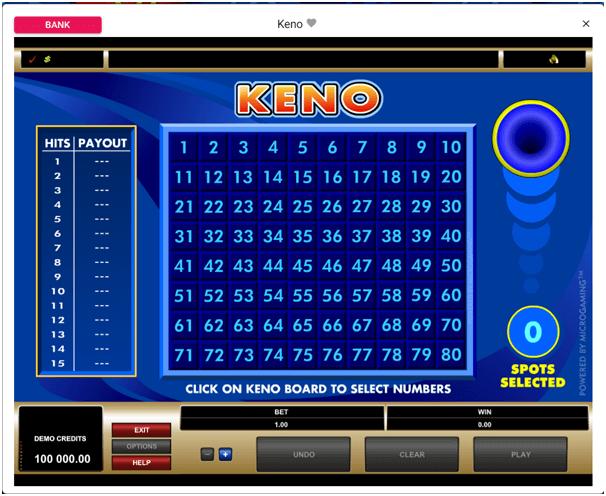 Standard Keno på Spin Casino Sweden