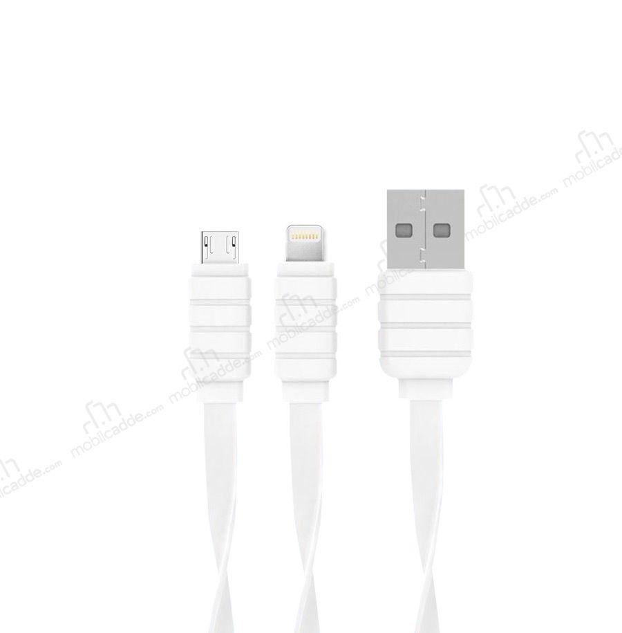 Konfulon S56 Lightning Amp Micro Usb Beyaz Data Kablosu 1 2m