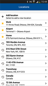 Taxi Locations Quick Select Screen