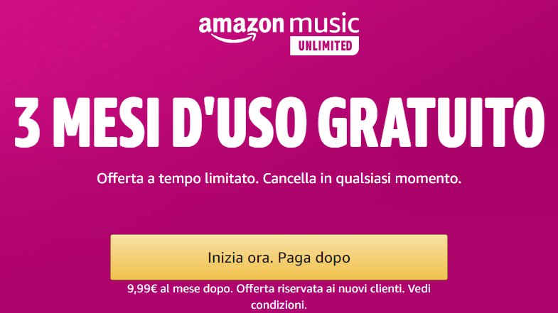 amazon music gratis per tre mesi