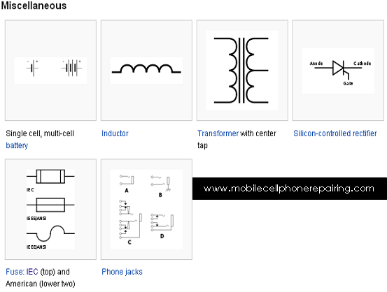 circuit symbols of electronic components - single cell, multi-cell battery,  inductor,