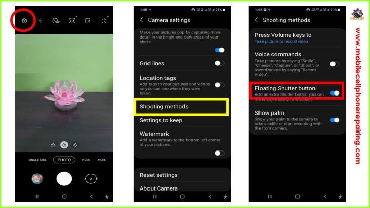 Pulsante di scatto mobile per la fotocamera del telefono Android