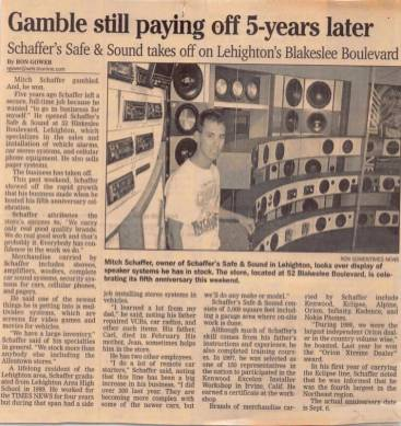 Article published in the Times News celebrating Schaffer's Safe & Sound's 5th year in business in 1999.