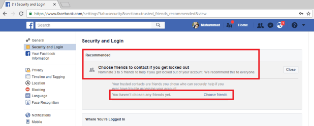 Facebook Security Trusted Contacts
