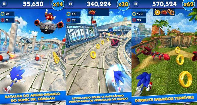 sonic-dash-android Sonic 30 anos: relembre os jogos para celular do mascote da SEGA