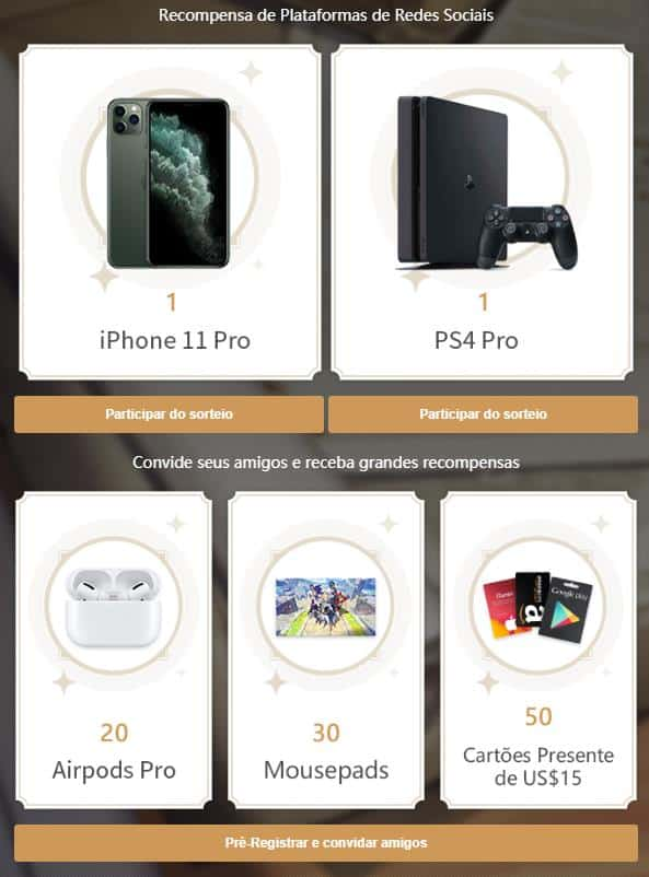 sorteio-iphone11-ps4pro-genshin-impact Genshin Impact: lançamento terá sorteio de Playstation 4 e iPhone 11, veja como participar!