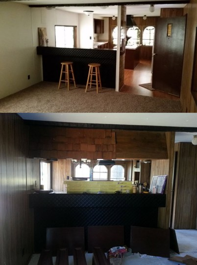 Mobile Home Makeover     Before and After Rehab Pictures     Mobile Home     manufactured home makeover looking into kitchen