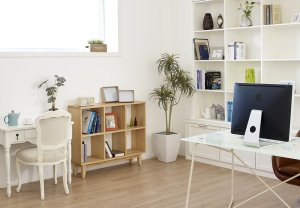 home office with shelves and desks