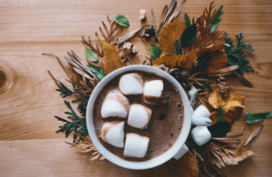 Hot chocolate with marshmallows with fall decor