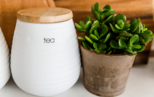 Ceramic pot of tea next to a small potted plant