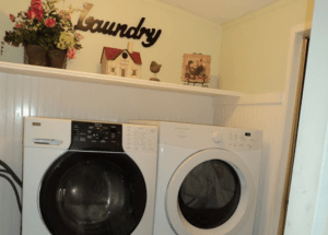 Remodeled laundry room in a mobile home